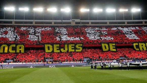 """""""Nunca dejes de creer"""" es un habitual mensaje de los fanáticos del Atlético de Madrid. (Foto: Agencias)"""