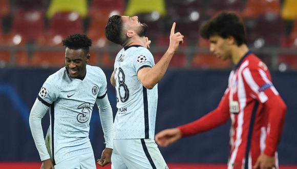 Chelsea se impuso en el marcador al Atlético de Madrid con un solitario gol del francés Olivier Giroud en el partido disputado por la ida de octavos de final de la Champions League. | Crédito: Daniel MIHAILESCU / AFP