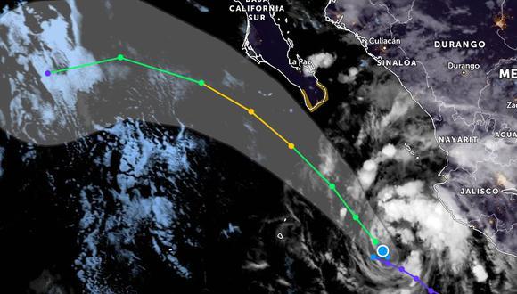 Imagen infrarroja de la depresión tropical 15E a fecha de 8 de septiembre de 2021 04:40 UTC y trayectoria prevista de su centro. Zoom Earth