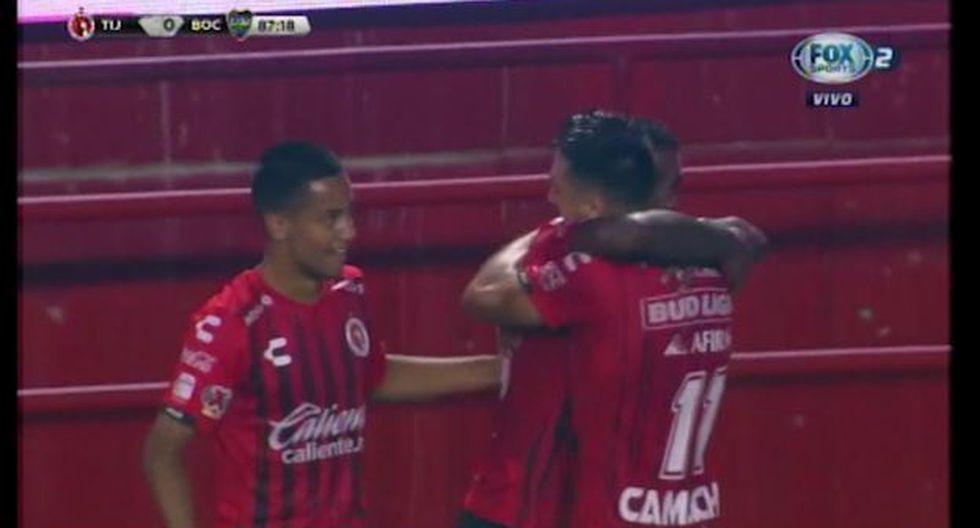 Miller Bolaños marcó el 1-0 de Tijuana ante Boca Juniors en el estadio Caliente (YouTube)