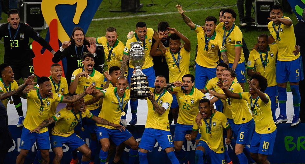 Brasil venció 3-1 a Perú en el estadio Maracaná y logró el título de la Copa América 2019. Sin Neymar, el equipo de Tite tuvo una impecable presentación en la edición. (AFP)