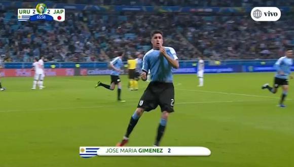 José María Giménez puso el 2 a 2 de Uruguay vs Japón por la Copa América 2019 (Fuente: América TV)