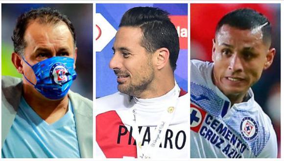 Claudio Pizarro felicitó a Juan Reynoso y Yoshimar Yotún, que acaban de salir campeones en México. (Foto: AFP)