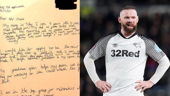 La carta escrita por Toby Hall (9 años) al dueño del equipo de Wayne Rooney.