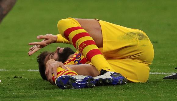 Piqué tuvo que dejar el campo de juego a los 62 minutos del partido ante Atlético de Madrid. (Foto: ESPN)