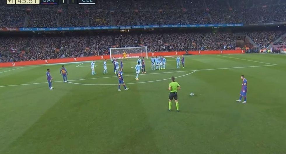 El gol de Messi de tiro libre al Celta de Vigo por Liga Santander 2019. (ESPN)