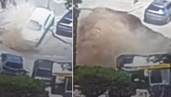 Un socavón se tragó a tres automóviles en Jerusalén. El video se volvió viral en Internet. (Foto: Noticias Telemundo / YouTube)