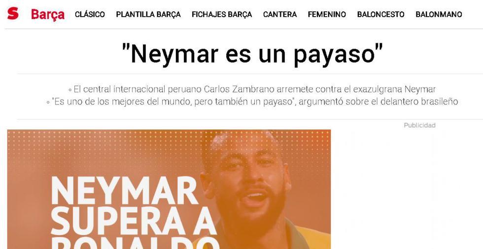 La reacción de la prensa del mundo a las palabras de Carlos Zambrano sobre Neymar. (Captura: Diario Sport)
