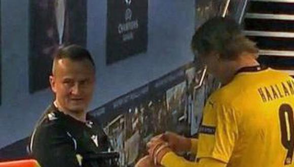 Octavian Sovre fue sorprendido pidiéndole un autógrafo a Haaland. (Foto: Captura BT Sports)