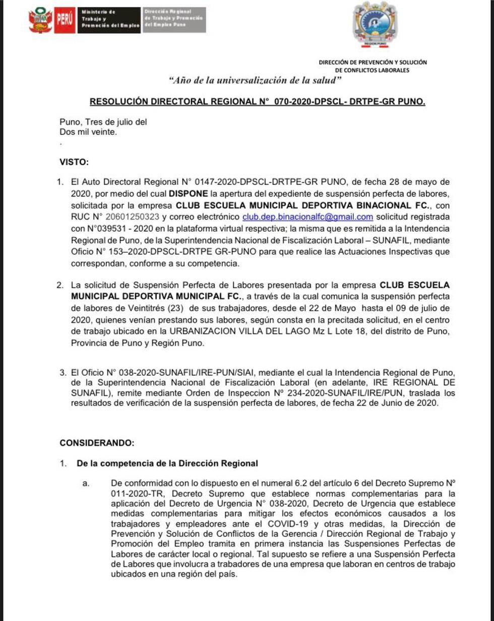 Esta es la resolución del Ministerio de Trabajo.