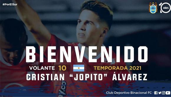 Cristian Álvarez es el nuevo fichaje de Binacional para la temporada 2021. (Foto: Twitter)