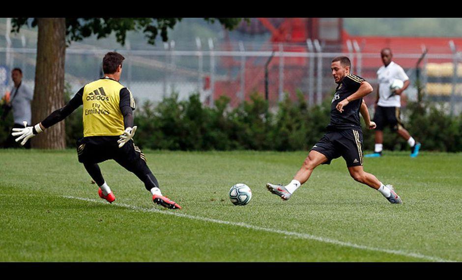 Courtois y Hazard en un entrenamiento del Real Madrid. (Getty Images)