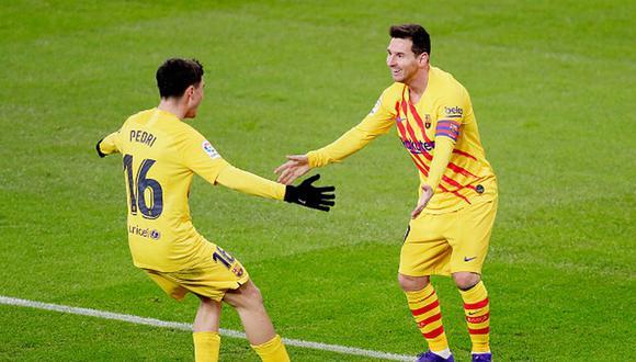 Leo Messi y Pedri juegan juntos por primera vez en el FC Barcelona. (Getty)
