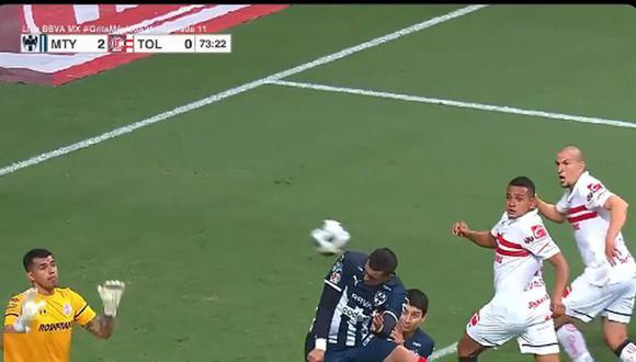 Rogelio Funes Mori anotó el 2-0 de Monterrey vs. Toluca. (Captura: ESPN)