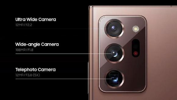 Detalles técnicos de la cámara del Note 20 Ultra (Samsung)