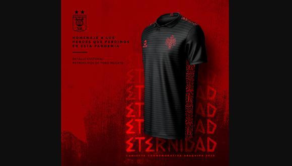 'ETERNIDAD', la camiseta que creó Melgar para rendir tributo a los 'héroes' de la pandemia. (Foto: Twitter)