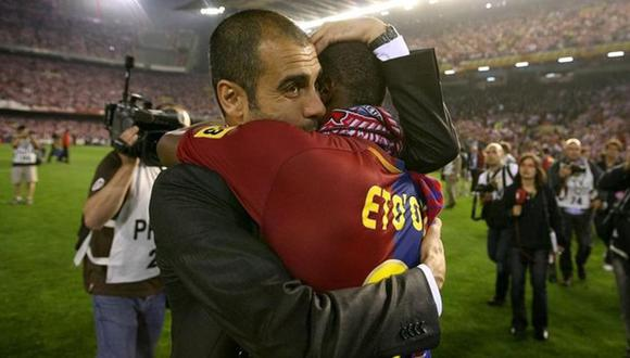 Eto'o y Guardiola en el FC Barcelona. (Getty / Internet)