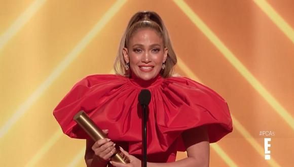 Jennifer Lopez en los People's Choice Awards 2020. (Foto: Captura E!)