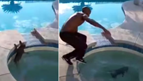 El hombre ingresó al jacuzzi rápidamente para salvar a su perrita. La escena se volvió viral en Internet. (Foto: Caters Clips / YouTube)
