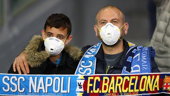 El coronavirus en el Napoli vs. Barcelona por Champions League. (Foto: Getty)