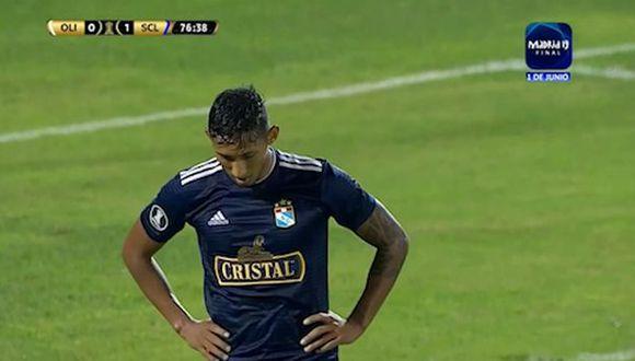 Gonzales falló una ocasión clara en el Cristal vs. Olimpia. (Captura Fox Sports 3)