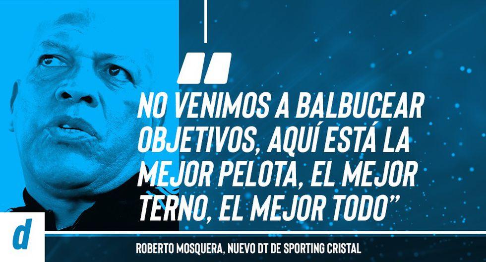 Roberto Mosquera dejó más de una frase para la posteridad en su presentación como nuevo DT de Sporting Cristal. (Diseño: Depor)