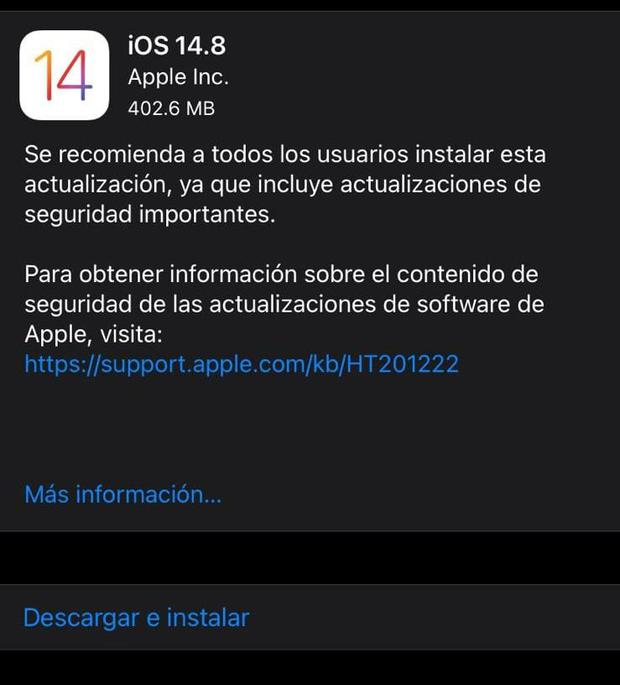 Download and install iOS 14.8.  (Photo: Mag)