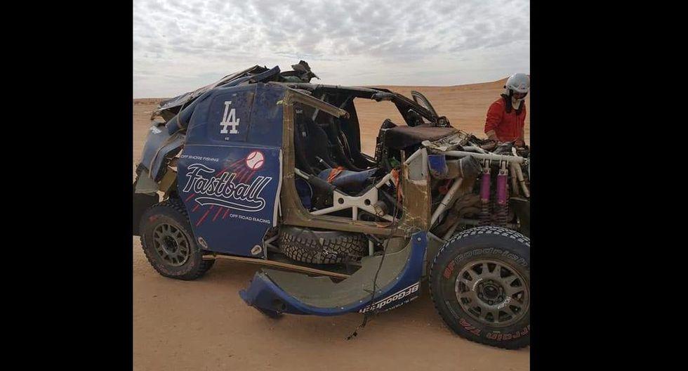 El terrible accidente que sufrió un piloto tras brutal volcadura de coche en el Dakar 2020. (Fotos: Twitter)