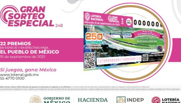 Lotería Nacional 2021: cuáles son los premios y dónde comprar un 'cachito' para el 15 de setiembre (Foto: Gobierno de México).