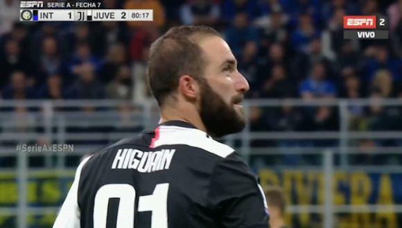 Así fue el gol de Gonzalo Higuaín en el Juventus-Inter de Milán. (Video: ESPN)