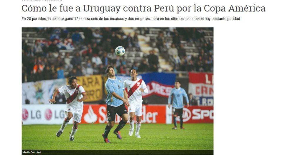 Así informa la prensa uruguaya antes de duelo ante Perú por la Copa América. (Foto: captura)