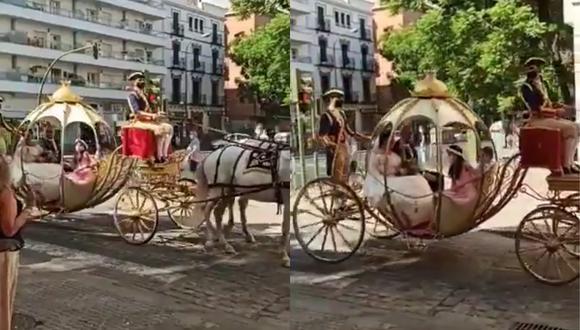 Un video viral muestra cómo una novia llegó a la iglesia para casarse a bordo de un carruaje que parecía sacado de las páginas de La Cenicienta. | Crédito: @SoyRafaCastro / Twitter.