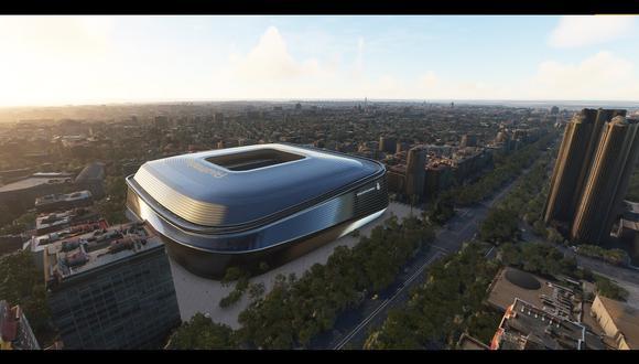 Real Madrid: así se verá el nuevo estadio Santiago Bernabéu según Microsoft Flight Simulator 2020. (Foto: captura)