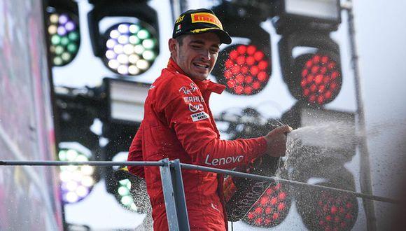 Charles Leclerc celebrando su gran victoria en Italia. (Foto: Getty Images)
