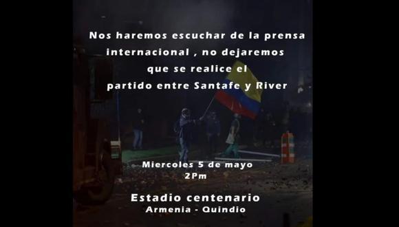 El partido entre Santa Fe y River por la Copa Libertadores podría no jugarse.