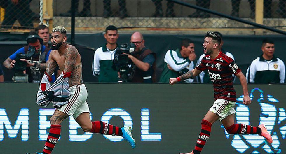 El doblete de Gabigol para el 2-1 de Flamengo ante River Plate. (Getty)