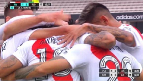 Gonzalo Montiel marca el 1-0 de River vs Aldosivi. (Foto: captura ESPN)