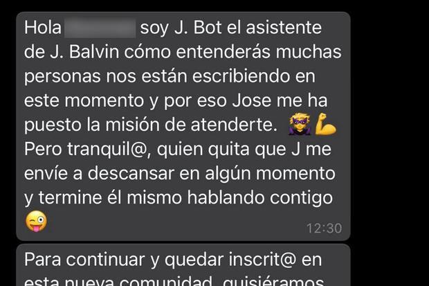 Questo è quello che risponderebbero se scrivessi al cantante JBalvin su WhatsApp.  (Foto: mag)