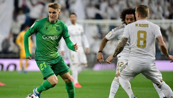 Odegaard marcó un gol en la clasificación de la Real Sociedad ante Real Madrid. (AFP)