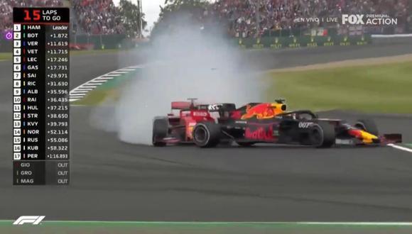 El impacto de Sebastian Vettel a la monoplaza de Max Verstappen. (Fox Action)