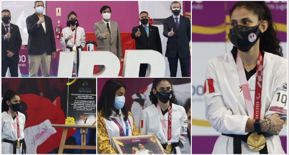 Las postales del reconocimiento de Angélica Espinoza tras conseguir el oro en Tokio 2020. (Foto: Jorge Cerdan / GEC)