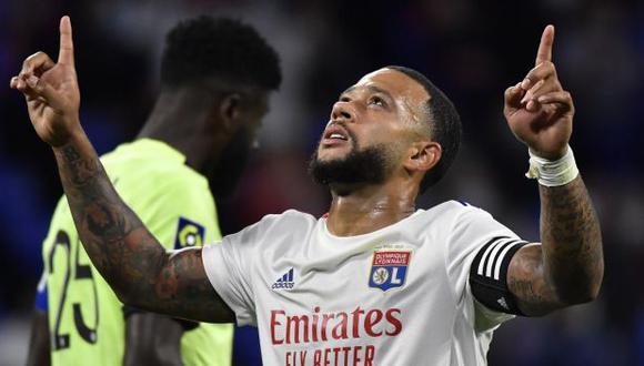 Memphis Depay se estrenó con un 'hat-trick' en la nueva temporada de Ligue 1 con Lyon. (Foto: AFP)
