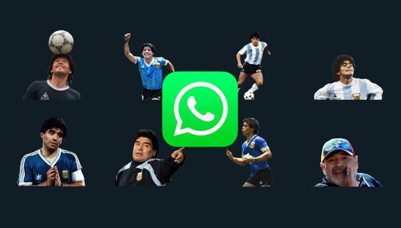 De esta forma podrás descargar los stickers de WhatsApp de Diego Armando Maradona. (Foto: Depor)