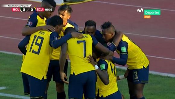 Ecuador ganó a los últimos minutos con un penal cobrado por el VAR. (Fuente: Movistar)