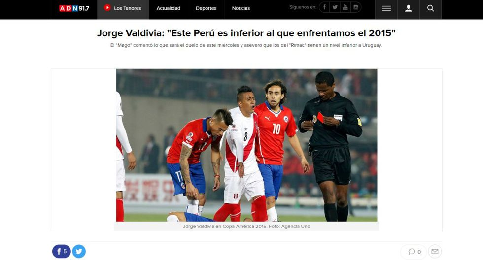 Así informan los distintos medios chilenos a un día del duelo entre Perú vs. Chile por la Copa América.