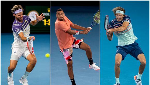 Thiem, Kyrgios y Zverev ocupan los puesto 3, 40 y 7, respectivamente, de la clasificación ATP. (Foto: Getty Images)