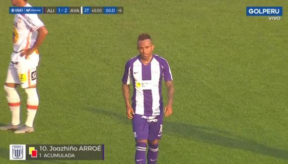 Joazhiño Arroé se fue expulsado en la derrota de Alianza Lima ante Ayacucho FC. (GolPERÚ)