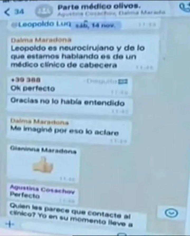 Los chats filtrados de los hijos de Maradona y los médicos. (Foto: América TV de Argentina / Diario Olé)