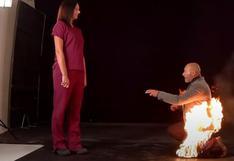 ¿Le dio el sí? Doble de acción se envolvió en llamas para protagonizar arriesgada propuesta de matrimonio [VIDEO]