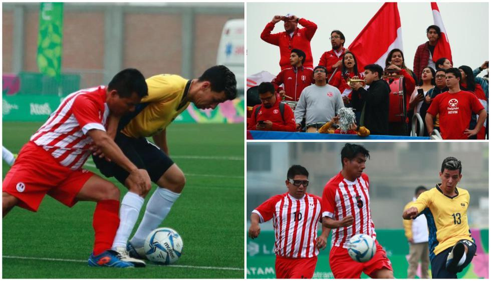 Perú contra Brasil en la primera jornada de fútbol 7 en los Juegos Parapanamericanos. (Daniel Apuy/ Grupo El Comercio)